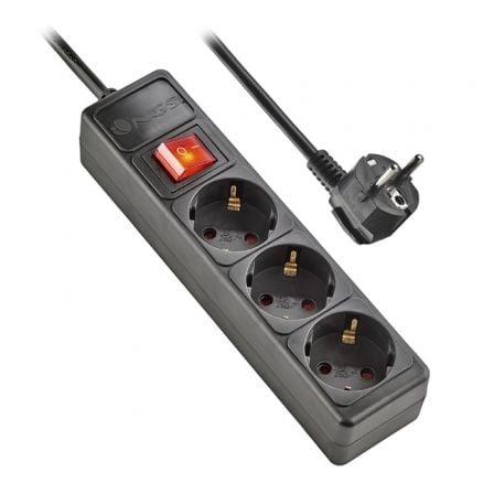 Regleta con interruptor NGS Surge Pole 300/ 3 Tomas de corriente/ Negra
