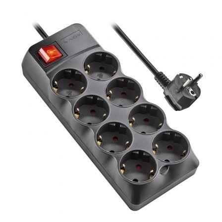 Regleta con interruptor NGS Surge Pole 800/ 8 Tomas de corriente/ Negra