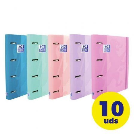 Pack de Archivadores Carpeblock con Recambio Oxford Touch EuropeanBinder 400119130/ A4+/ 100 Hojas/ 10 Unidades/ Colores Pastel