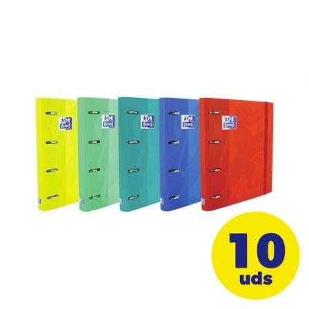 Pack de Archivadores Carpeblock con Recambio Oxford Touch EuropeanBinder 400136667/ A4+/ 100 Hojas/ 10 unidades/ Colores Vivos