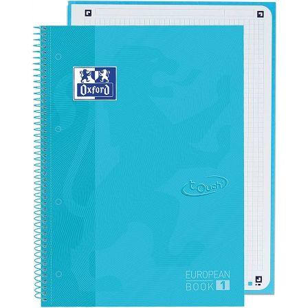 Cuaderno con Espiral Cuadriculado Oxford European Book 1 Touch 400107010/ A4+/ 80 Hojas/ Azul Agua