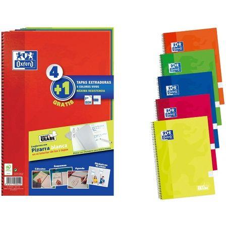 Cuadernos con Espiral Cuadriculados + Pizarras Blancas Oxford 400122761/ A4+/ 80 Hojas/ 5 unidades/ Verde/ Amarillo/ Naranja/ Azul/ Rojo