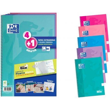 Cuadernos con Espiral Cuadriculados + Pizarras Blancas Oxford 400122766/ A4+/ 80 Hojas/ 5 unidades/ Turquesa/ Lila/ Azul/ Rosa/ Fucsia