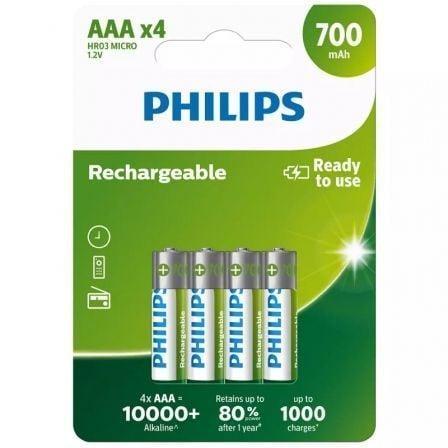 Pack de 4 Pilas AAA Philips R03B4A70/10/ 1.2V/ Recargables