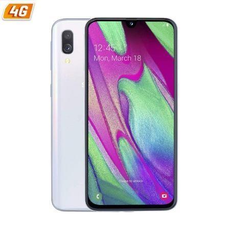 SMARTPHONE MÓVIL SAMSUNG GALAXY A40 WHITE - 5.9'/14.9CM - CAM (16+5)/25MP - OC (1.8GHz+1.6GHz) - 64GB - 4GB RAM - ANDROID - 4G - DUAL SIM - BAT 3100MA