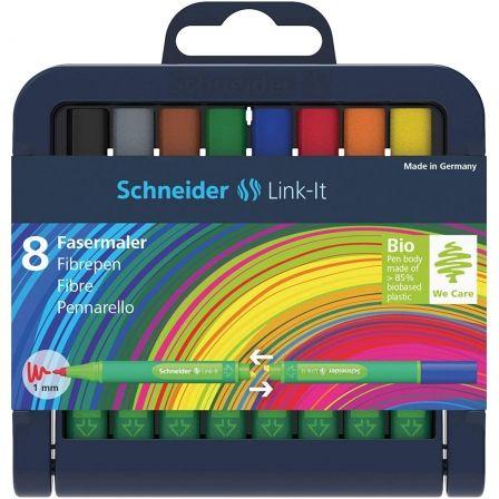 Rotuladores Doble Punta Schneider Link-it SH192098/ 0.4mm/ 1mm/ 8 unidades/ Colores Surtidos