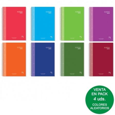 Cuaderno con Espiral Rayado Sam Premium/ A5/ 120 Hojas/ 4 unidades/ Colores Surtidos