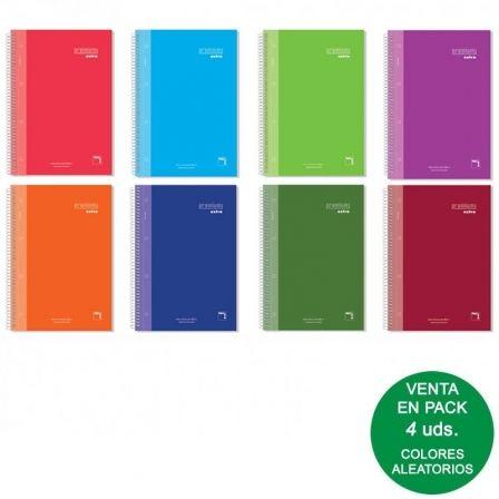 Cuadernos con Espiral Rayado Sam Premium 16481/ A4/ 120 Hojas/ 4 unidades/ Colores Surtidos
