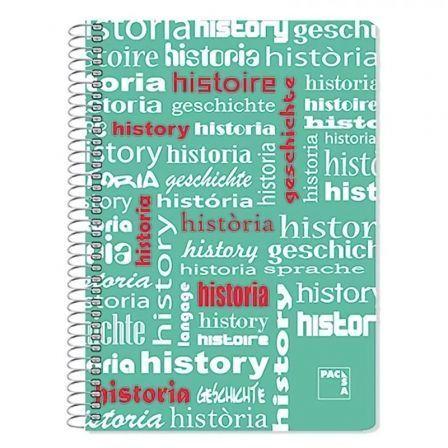 Cuaderno con Espiral Rayado Sam Historia/ Folio/ 80 Hojas/ Verde