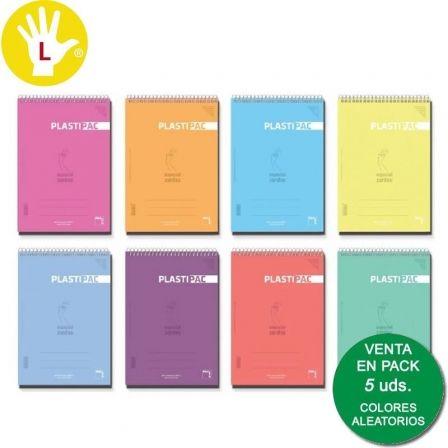 Cuadernos con Espiral Rayado para Zurdos Sam 16561/ Folio/ 80 Hojas/ 5 unidades/ Colores Surtidos