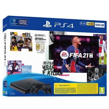 Consola Sony Playstation 4 - PS4 Slim 500GB/ Incluye Juego FIFA 21/ Contenido Descargable FUT 21 / Código 14 Días PS PLUS y 2 Mandos Dualshock 4