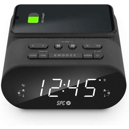 Despertador SPC Frodi QI/ Radio FM/ Base de carga Inalámbrica