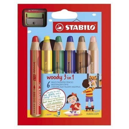Lápices Stabilo Woody 3 en 1/ Acuarelables/ 10mm/ 6 unidades/ Colores Surtidos