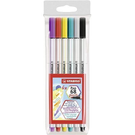 Rotuladores Punta Fina Stabilo Pen 68 Brush/ 6 unidades/ Colores Surtidos