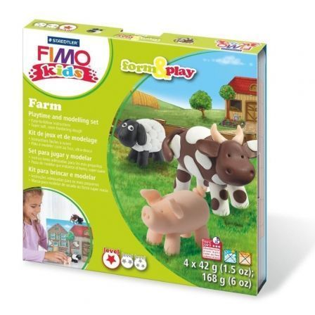 Juego Plastilina para Hornear Staedtler FIMO Kids Form And Play Granja/ 4 Bloques 42g / Blanco/ Rosa Pálido/ Marrón/ Negro