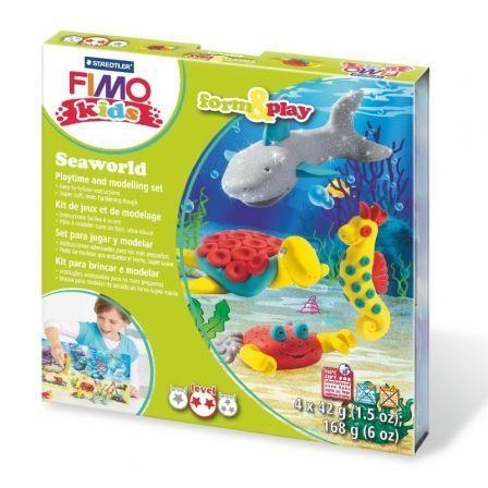 Juego Plastilina para Hornear Staedtler FIMO Kids Form And Play Oceanlife/ 4 Bloques 42g / Amarillo/ Rojo/ Turquesa/ Plateado Brillante