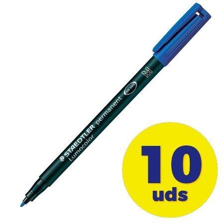 Caja de Rotuladores Permanentes Staedtler Lumocolor 317/ 1mm/ 10 unidades/ Azules