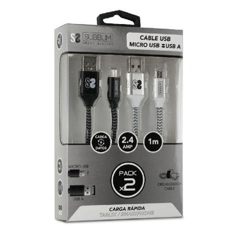 Cable USB 2.0 Subblim SUB-CAB-1MU001 Pack 2/ MicroUSB Macho - USB Macho/ 1m/ Negro y Plata