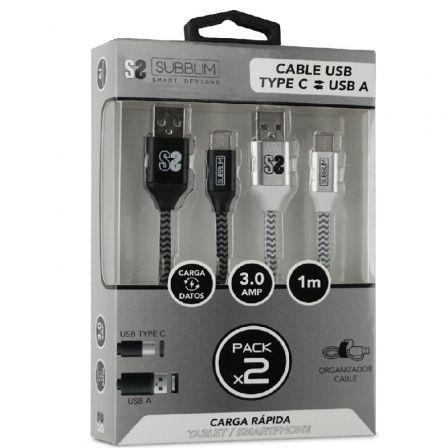 Cable USB 2.0 Subblim SUB-CAB-2TC001 Pack 2/ USB Tipo-C Macho - USB Macho/ 1m/ Negro y Plata