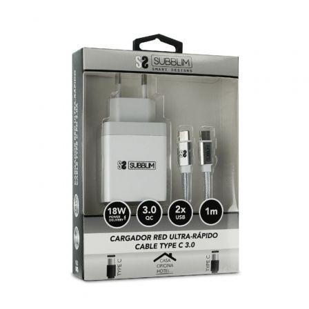 Cargador de Pared Subblim SUB-CHG-3WPD01/ USB + Cable USB Tipo-C/ 2.4A/ Blanco