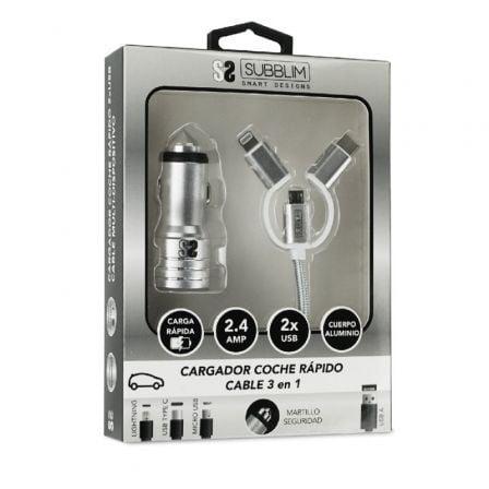 Cargador de Coche Subblim SUB-CHG-4CC001/ 2xUSB + Cable USB 3 en 1/ 2.4A/ Plata