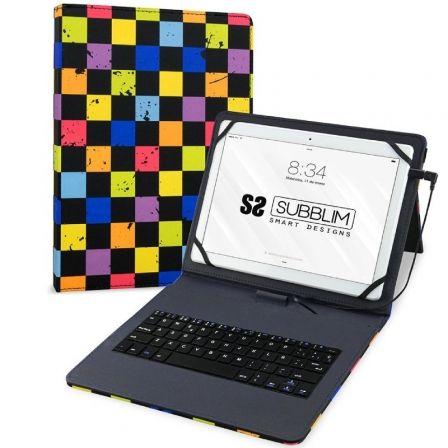 Funda con Teclado Subblim Keytab Pro USB Squares para Tablets de 10.1