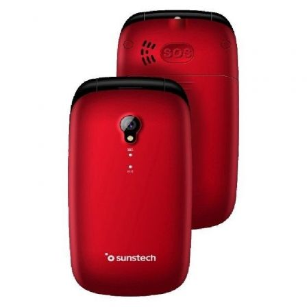 Teléfono Móvil Sunstech CELT17 para Personas Mayores/ Rojo