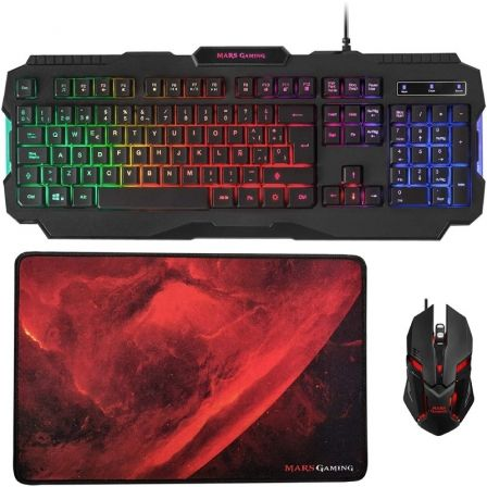 Pack Gaming Mars Gaming MCP118/ Teclado + Ratón Óptico + Alfombrilla