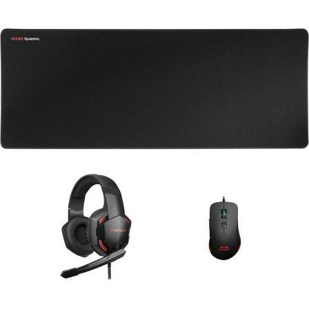 Pack Gaming Mars Gaming MCPPRO/ Alfombrilla + Ratón Óptico + Auriculares con Micrófono