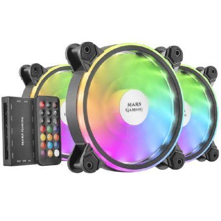 Pack 3 Ventiladores Mars Gaming MFXKIT/ 12cm + HUB + Mando a Distancia