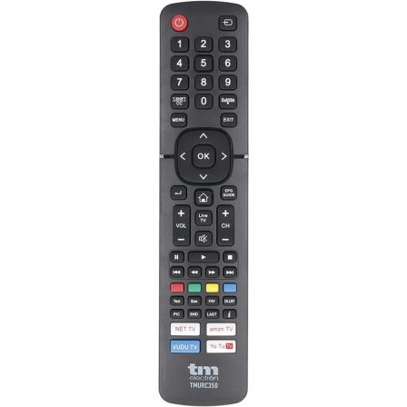 MANDO A DISTANCIA UNIVERSAL TM ELECTRON TMURC350 - COMPATIBLE CON TV HISENSE - 2*AAA (NO INCLUIDAS) - NEGRO