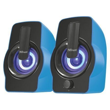 ALTAVOCES 2.0 TRUST GEMÍ RGB BLUE - 12W (6W RMS) - ILUMINACIÓN LED CON CICLO DE COLORES - MANDO VOLUMEN DELANTERO - ALIMENTACIÓN USB